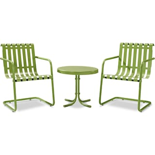 Janie Set of 2 Outdoor Chairs and Side Table - Coral Red