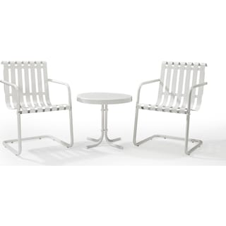 Janie Set of 2 Outdoor Chairs and End Table - White