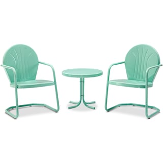 Kona Set of 2 Outdoor Chairs and Side Table - Aqua