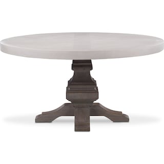 Lancaster Round Wood Top Table - Water White with Parchment Base