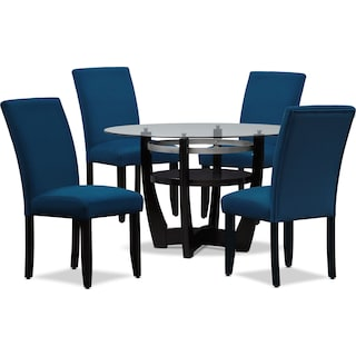 Lennox Dining Table and 4 Dining Chairs - Navy