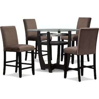 Lennox Counter-Height Dining Table and 4 Stools - Chocolate