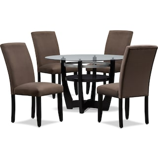 Lennox Dining Table and 4 Dining Chairs - Chocolate