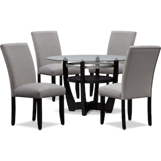 Lennox Dining Table and 4 Dining Chairs - Gray