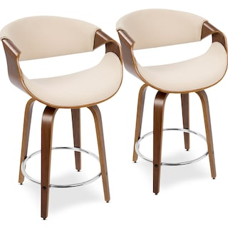 Leo Set of 2 Swivel Counter-Height Stools - Cream