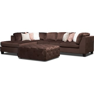 Mackenzie 2-Piece Left-Facing Sectional with Ottoman - Brown