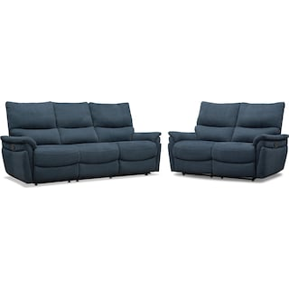 Maddox Manual Reclining Sofa and Loveseat - Blue