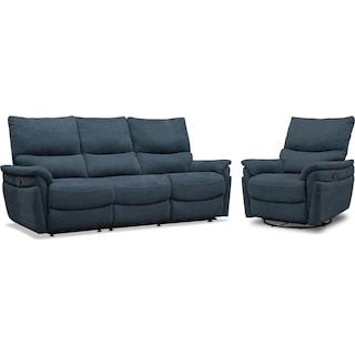 Maddox Manual Reclining Sofa and Swivel Recliner - Blue
