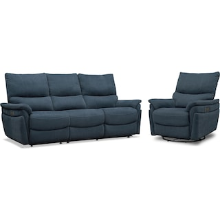 Maddox Triple-Power Reclining Sofa and Swivel Recliner- Blue