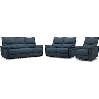 Maddox Triple-Power Reclining Sofa, Loveseat and Swivel Recliner - Blue
