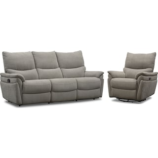 Maddox Manual Reclining Sofa and Swivel Recliner - Platinum