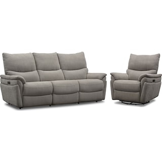 Maddox Triple-Power Reclining Sofa and Swivel Recliner- Platinum