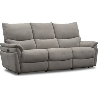 Maddox 2-Piece Triple-Power Reclining Sofa - Platinum