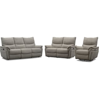 Maddox Manual Reclining Sofa, Loveseat and Swivel Recliner - Platinum
