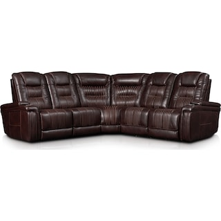 Magnus 5-Piece Triple-Power Reclining Sectional with 3 Reclining Seats - Brown