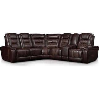 Magnus 6-Piece Triple-Power Reclining Sectional with 3 Reclining Seats - Brown