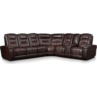 Magnus 7-Piece Triple-Power Reclining Sectional with 3 Reclining Seats - Brown