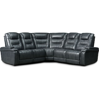 Magnus 5-Piece Triple-Power Reclining Sectional with 3 Reclining Seats - Gray