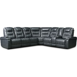 Magnus 7-Piece Triple-Power Reclining Sectional with 3 Reclining Seats - Gray