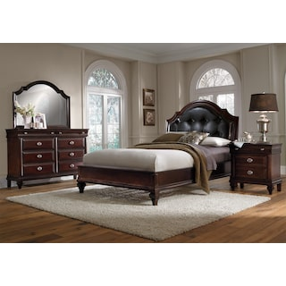 Manhattan 6-Piece Queen Upholstered Bedroom Set with Nightstand, Dresser and Mirror - Cherry