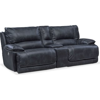 Mario 3-Piece Dual-Power Reclining Sofa with Console - Navy