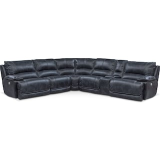 Mario 6-Piece Dual-Power Reclining Sectional with 2 Reclining Seats - Navy