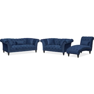 Marisol Sofa, Loveseat and Chaise - Blue
