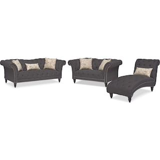 Marisol Sofa, Loveseat and Chaise - Charcoal