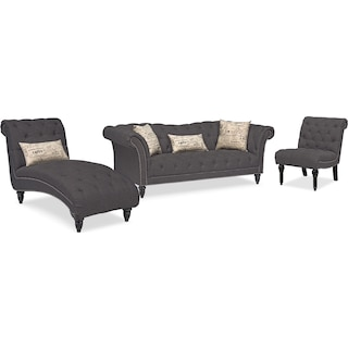 Marisol Sofa, Chaise and Chair - Charcoal