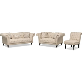 Marisol Sofa, Loveseat and Chair - Beige