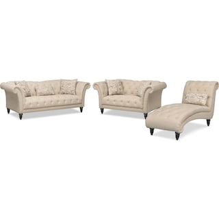 Marisol Sofa, Loveseat and Chaise - Beige