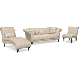Marisol Sofa, Chaise and Chair - Beige