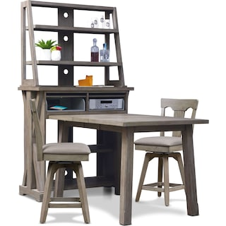 Maxton Counter-Height Dining Table with Media Hutch and 2 Stools