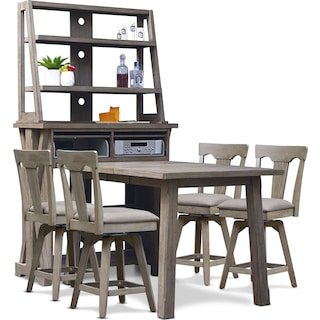 Maxton Counter-Height Dining Table with Media Hutch and 4 Stools