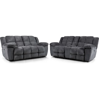 Mellow Dual-Power Reclining Sofa and Loveseat Set - Gray