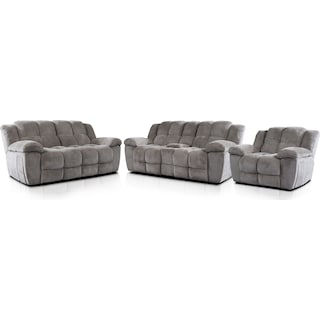 Mellow Manual Reclining Sofa, Loveseat and Recliner - Stone