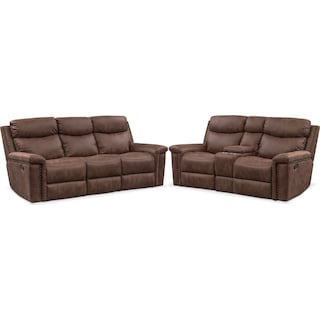Montana Manual Reclining Sofa and Loveseat Set - Brown