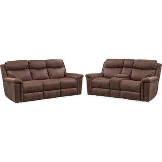 Montana Dual-Power Reclining Sofa and Loveseat Set - Brown