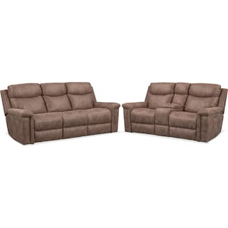 Montana Dual-Power Reclining Sofa and Loveseat Set - Taupe
