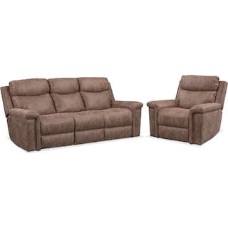 Montana Dual-Power Reclining Sofa and Recliner Set - Taupe