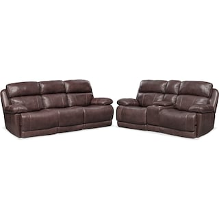 Monte Carlo Dual-Power Reclining Sofa and Loveseat Set - Chocolate
