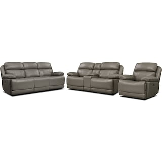 Monte Carlo Dual-Power Reclining Sofa, Loveseat and Recliner Set - Gray