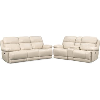 Monte Carlo Dual-Power Reclining Sofa and Loveseat Set - Cream