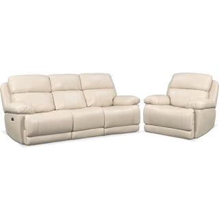 Monte Carlo Dual-Power Reclining Sofa and Recliner Set - Cream