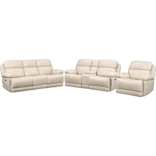 Monte Carlo Dual-Power Reclining Sofa, Loveseat and Recliner - Cream