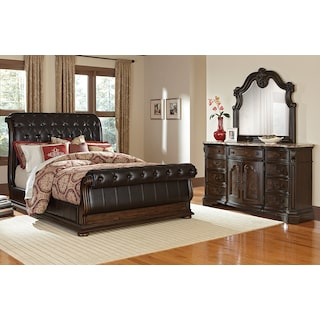Monticello 5-Piece Queen Upholstered Sleigh Bedroom Set with Dresser and Mirror - Pecan