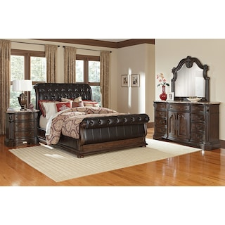 Monticello 6-Piece Queen Upholstered Sleigh Bedroom Set with Nightstand, Dresser and Mirror - Pecan