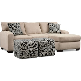 Nala 2-Piece Sectional with Chaise and 2 Cube Ottomans - Beige