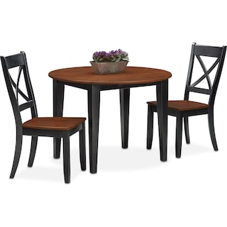 Nantucket Drop-Leaf Dining Table and 2 Dining Chairs - Black and Cherry