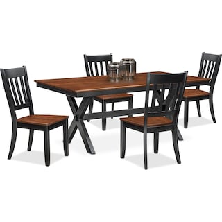 Nantucket Trestle Dining Table and 4 Slat-Back Dining Chairs - Black and Cherry